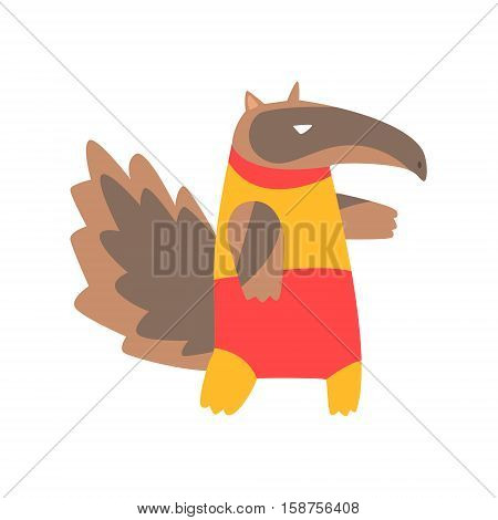 Anteater Animal Dressed As Superhero With A Cape Comic Masked Vigilante Geometric Character. Part Of Fauna With Super Powers Flat Cartoon Vector Collection Of Illustrations.