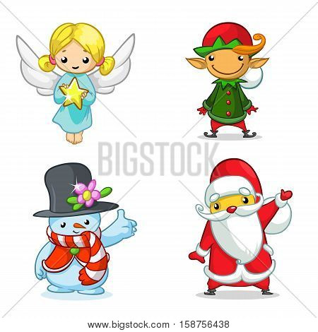 Christmas cartoon characters set. Vector illustration of Christmass angel elf snowman and Santa Claus