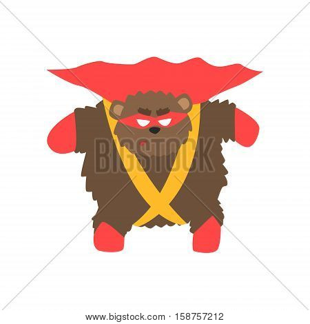 Brown Bear Animal Dressed As Superhero With A Cape Comic Masked Vigilante Geometric Character. Part Of Fauna With Super Powers Flat Cartoon Vector Collection Of Illustrations.