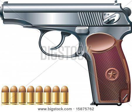 Machine pistol and ammunition