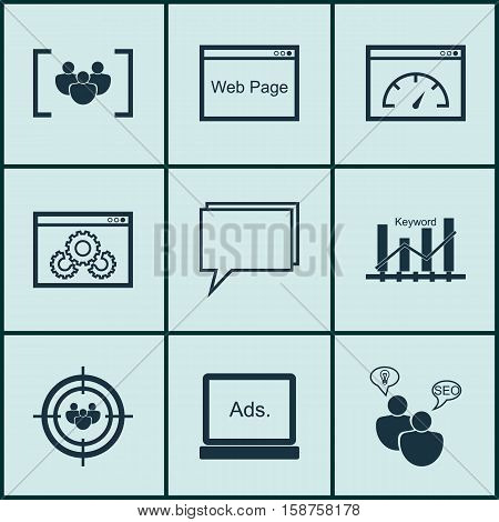 Set Of Advertising Icons On Website, SEO Brainstorm And Questionnaire Topics. Editable Vector Illustration. Includes Target, SEO, Digital And More Vector Icons.