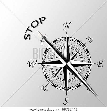 Illustration of stop word written aside compass