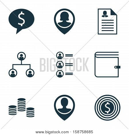 Set Of Human Resources Icons On Job Applicants, Pin Employee And Female Application Topics. Editable Vector Illustration. Includes User, Opinion, Wallet And More Vector Icons.