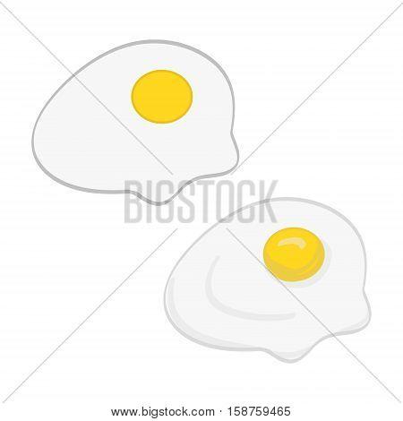 Set of vector illustrations. Simple scrambled eggs omelette of yolk and albumen.