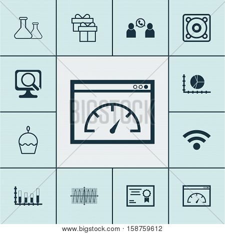 Set Of 12 Universal Editable Icons. Can Be Used For Web, Mobile And App Design. Includes Icons Such As Cosinus Diagram, Wireless, Segmented Bar Graph And More.