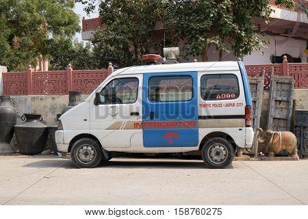 JAIPUR, INDIA - FEBRUARY 16: Traffic police van on a walking street in Jaipur, Rajasthan, India on February 16, 2016.