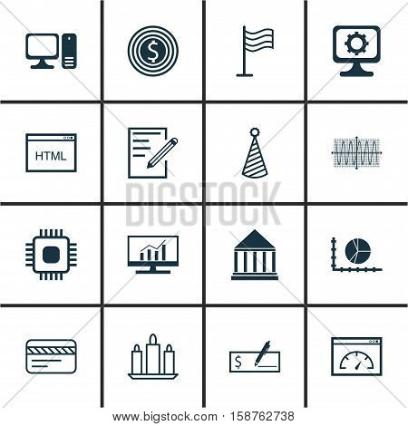 Set Of 16 Universal Editable Icons. Can Be Used For Web, Mobile And App Design. Includes Icons Such As Bank Card, PC, Bank Payment And More.