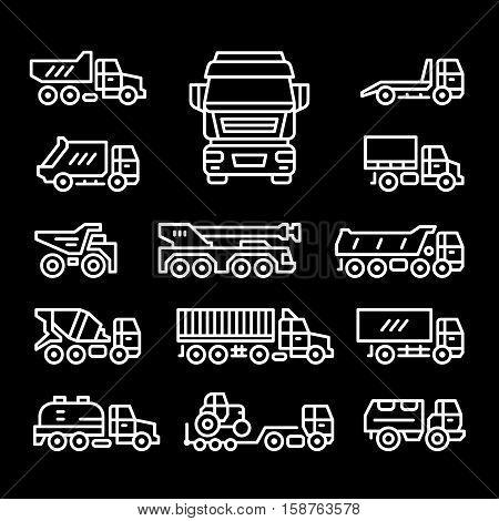 Set line icons of trucks isolated on black. Vector illustration