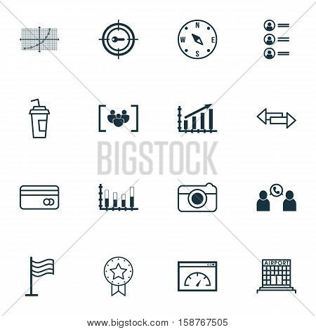 Set Of 16 Universal Editable Icons. Can Be Used For Web, Mobile And App Design. Includes Icons Such As Segmented Bar Graph, Airport Construction, Street And More.