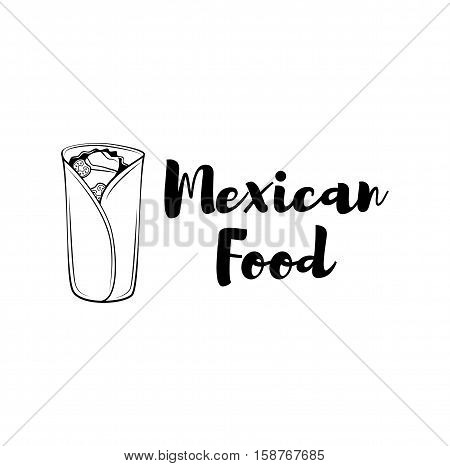 Burrito. Mexico Food. Traditional Mexican Cuisine. An Isolated Object. Vector Illustration