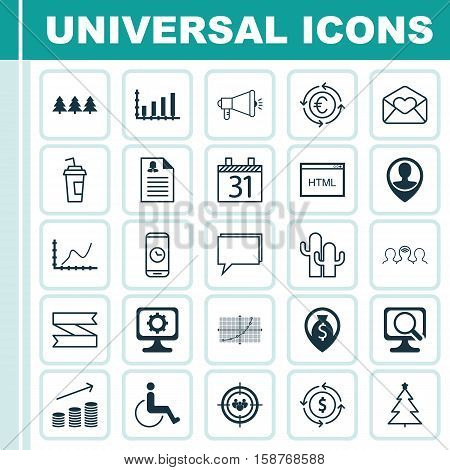 Set Of 25 Universal Editable Icons. Can Be Used For Web, Mobile And App Design. Includes Icons Such As Media Campaign, Coaching, Money Navigation And More.