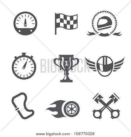 Race icons set Speedometer, helmet and cup, winning finish, flag and speed competition,