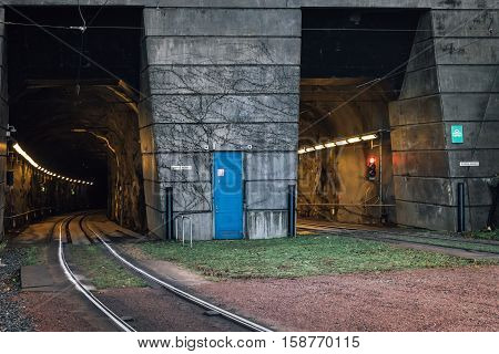 Tunnels for  the railbus outside Chalmers university in Gothenburg, Sweden.