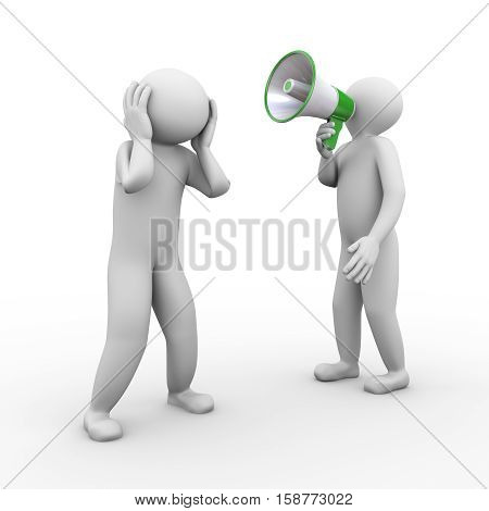 3d illustration of person yelling through megaphone to another guy. 3d human person character and white people.