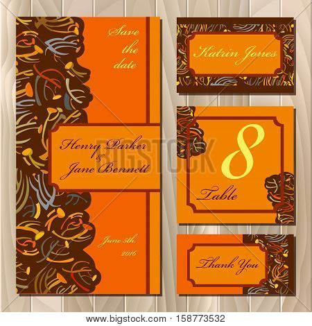 Golden orange brown fall autumn tansy twigs. Wedding invitation. Wedding card, menu design table card, green golden fall color. Floral abstract design. Vector illustration stock vector.