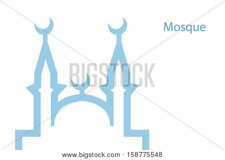 illustration of a blue religious background with mosque on white eps10 vector