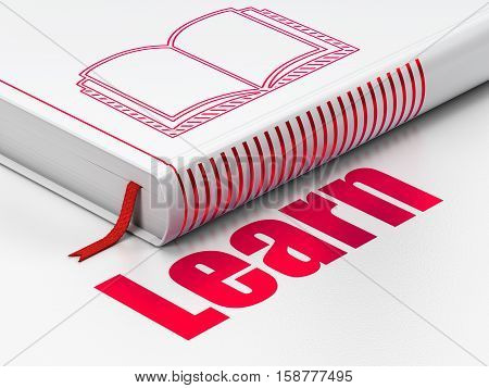 Education concept: closed book with Red Book icon and text Learn on floor, white background, 3D rendering