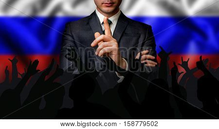 Russian Candidate Speaks To The People Crowd