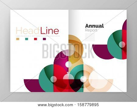 Transparent circle composition on business annual report flyer. Vector illustration