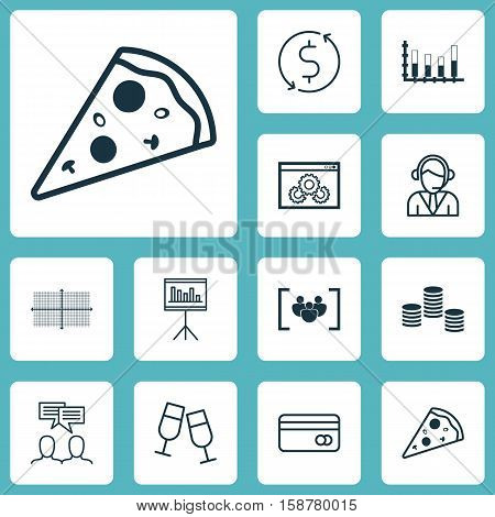 Set Of 12 Universal Editable Icons. Can Be Used For Web, Mobile And App Design. Includes Icons Such As Plastic Card, Segmented Bar Graph, Discussion And More.