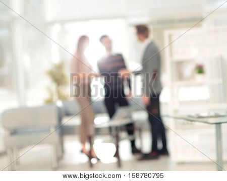 Blur employers of  company thoughtful  and discussion together f