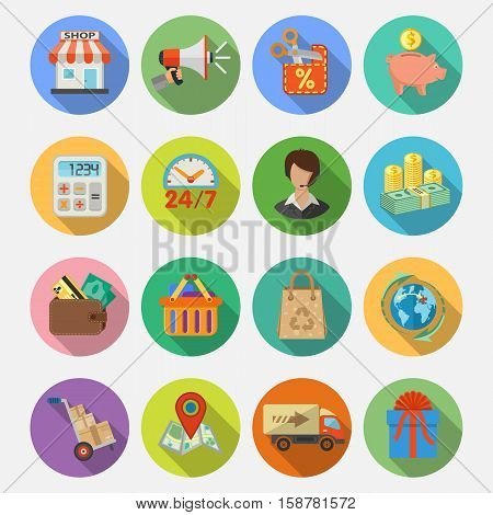 Internet Shopping, Delivery and Cargo Detailed Flat Icon Set for e-commerce with money, truck, gift symbols on colored circles with Long Shadows. Vector illustration