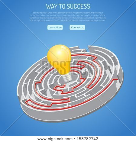 Business Success and Searching Idea Concept with 3D circular Labyrinth with solution and light bulb. vector illustration