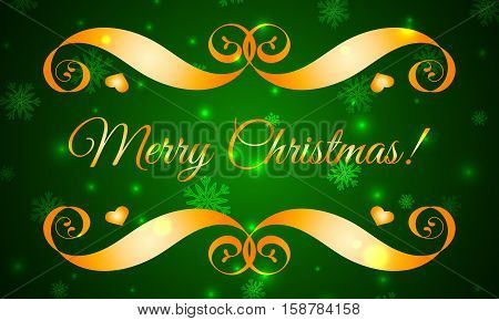 Vector Merry Christmas Gold Badge over Green Sparkle Background. Easy use and recolor elements for your design. Element for card, logo, banners, labels, postcards, invitations, prints, posters, web, presentation.