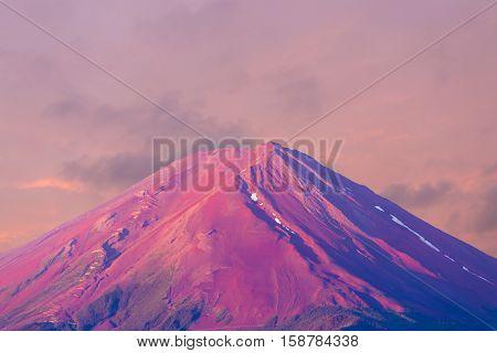 Mount Fuji Detail Pink Cone Sky Morning Sunrise H