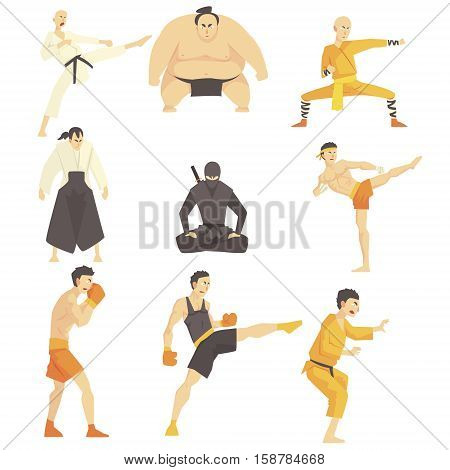 Martial Arts Fighters Performing Different Technique Kicks Set Of Asian Fighting Sports Professional In Traditional Fighting Outfits Sportive Clothing. Fun Geometric Cartoon Collection Of Characters Doing Taekwondo, Karate, Sumo And Other Oriental Fightin