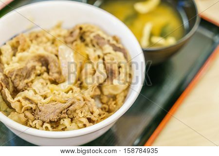 Japanese traditional dish Beef teriyaki with rice