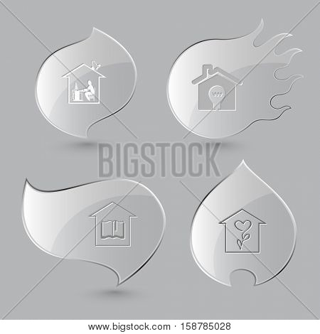 4 images: work, light in home, library, flower shop. Home set. Glass buttons on gray background. Fire theme. Vector icons.