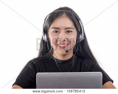 Portrait of smile woman customer support phone operator (call center) in headset on isolated / white background