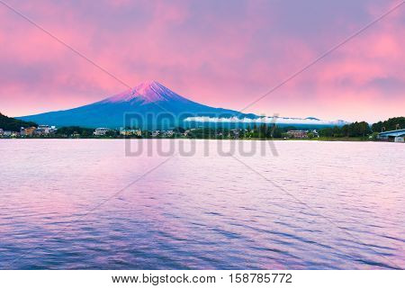 Mount Fuji Sunrise Lake Kawaguchi Water Red Sky