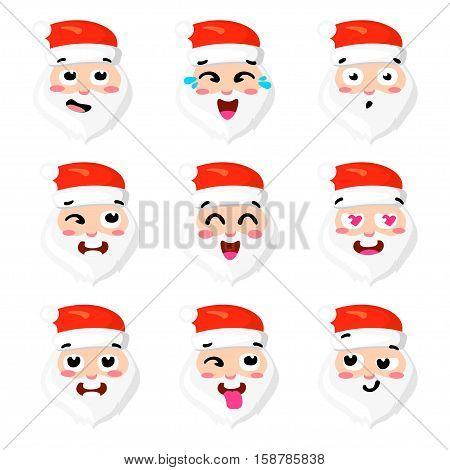Christmas Set - six emotion faces of santa. Vector cartoon illustration. Santa Claus expression emoticons face icons cute style. Vector clip art Eps 10.