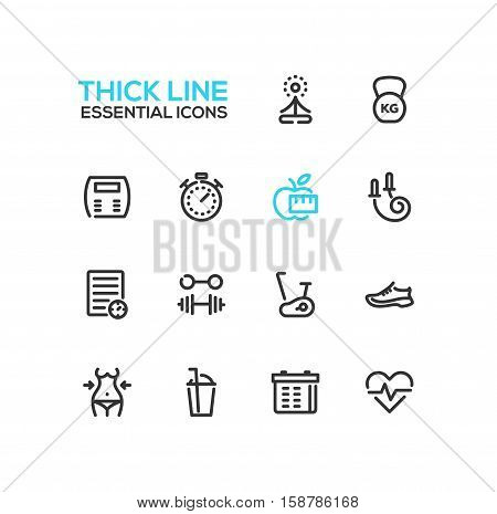 Diet and fitness - modern vector plain simple thick line design icons and pictograms set. Yoga, weight, apple, stopwatch, skip rope, training shoes, barbell, exercise bike, cocktail, check-list, calendar, pulse