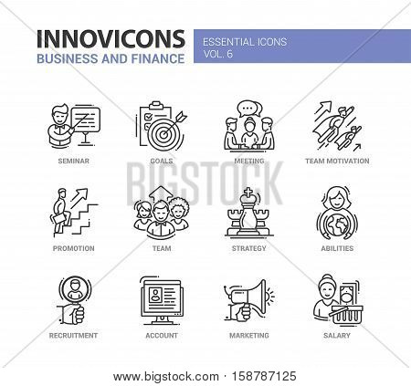 Busness and Fnance - modern vector thin line flat design icons and pictograms set. Seminar, goals, team motivation, promotion, team, strategy, abilities, recruitment, account, marketing salary