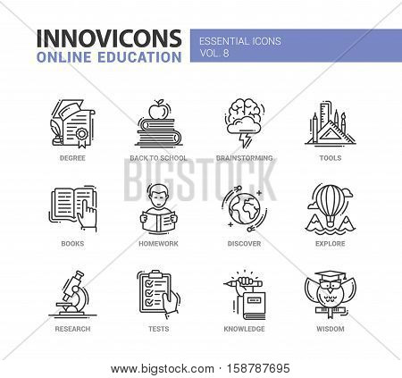 Online Education - modern vector thin line flat design icons and pictograms set. Degree, back to school, brainstorming, books, homework, discover, explore, research, knowledge, wisdom tests