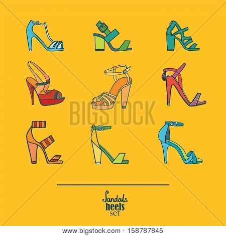 Lovely set with stylish fashion shoes hand drawn and isolated on yellow background. Vector illustration showing various stiletto high heels sandals. Creative collection in different colors.