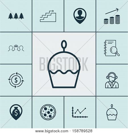 Set Of 12 Universal Editable Icons. Can Be Used For Web, Mobile And App Design. Includes Icons Such As Employee Location, Birthday Cake, Money Recycle And More.