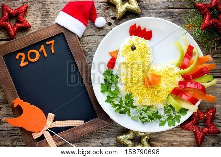 Cute salad shaped for the New Year 2017
