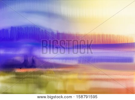 Abstract watercolor background. Semi- abstract watercolor painting landscape.Image of tree hill and green field with sunlight and blue sky. Spring season nature background