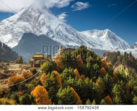 Himalayas mountain landscape. Buddhist monastery and Manaslu mount in Himalayas, Nepal.
