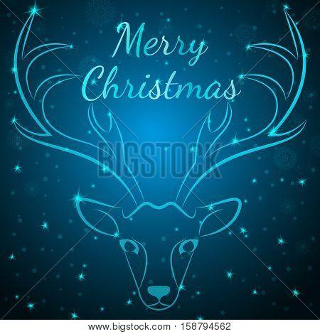 Merry Xmas reindeer head on snowflakes stars dots background.Graceful noble animal reindeer on blue soft glow surrounding, xmas wish postcard.Merry Xmas reindeer silhouette-blue reindeer head w antlers