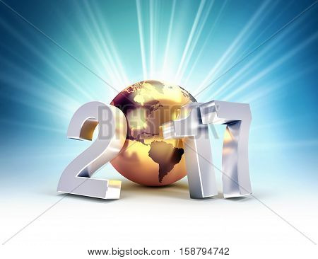 2017 New Year type composed with a golden planet earth on a shining light background - 3D illustration