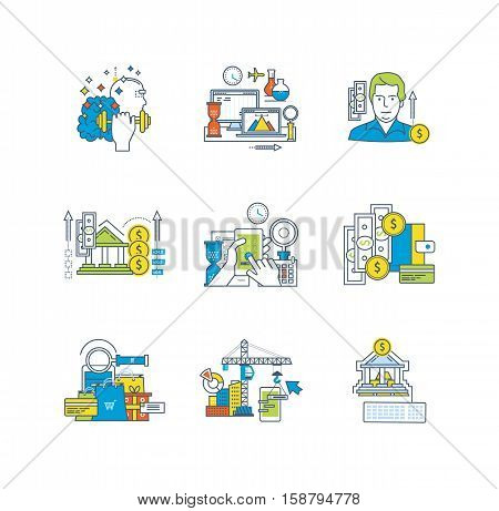 Education and research, application development, finance and savings, design and management, marketing icons set over white background. Flat line icons for infographics design elements.