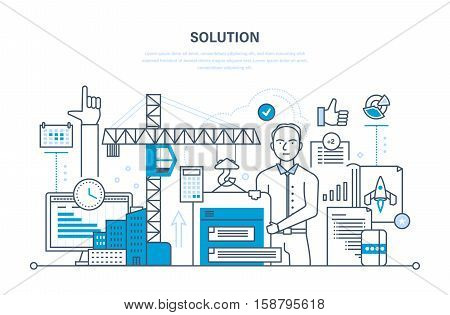 Solution of tasks, business solutions, marketing and planning, calculation, application development and software. Illustration thin line design of vector doodles, infographics elements.