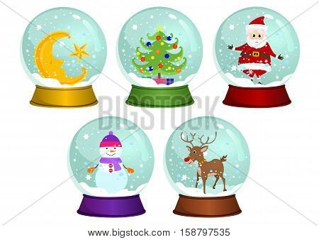 Vector illustrations of snow globes - Moon snow globe - Christmas tree snow globe - Santa snow globe - Snowman snow globe - Reindeer snow globe