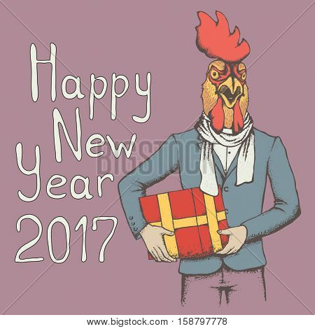 Rooster vector illustration. Rooster in human suit with gift. 2017 new year of the rooster