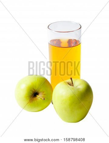 Apple juice in glass and fresh apples isolated on white background